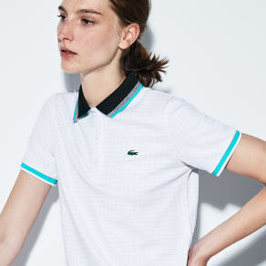 Women´s Lacoste SPORT Net Print Technical Piqué Tennis Polo Size 10 White/armour-black-white-