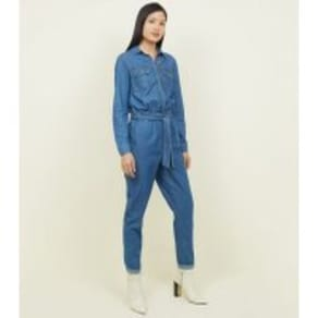 Blue Denim Belted Boiler Jumpsuit New Look
