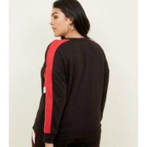 Curves Black Colour Block Stripe Sleeve Sweatshirt New Look