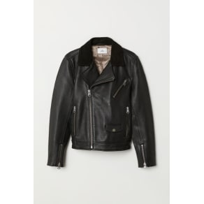 H & M - Leather biker jacket - Black