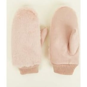 Pink Faux Fur Mittens New Look