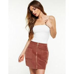 Corduroy Zip Up A Line Skirt