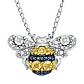 White & Yellow Diamond Bumble Bee Pendant in Sterling Silver