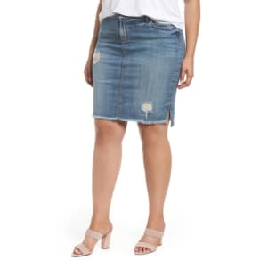Plus Size Women's Kut From The Kloth Connie Step Hem Denim Skirt, Size 18W - Blue