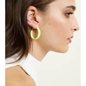 Yellow Neon Ribbon Wrap Midi Hoop Earrings New Look