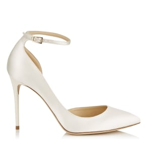 LUCY 100 Ivory Satin Pointy Toe Pumps
