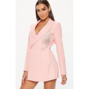 Pink Diamante Trim Blazer Playsuit, Pink