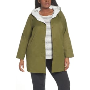 Plus Size Women's Eileen Fisher Reversible Hooded Jacket