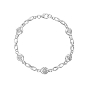 Sterling Silver Cubic Zirconia Figure of Eight Bracelet