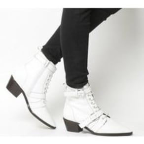Office Ambassador- Lace Up Boot OFF WHITE LEATHER