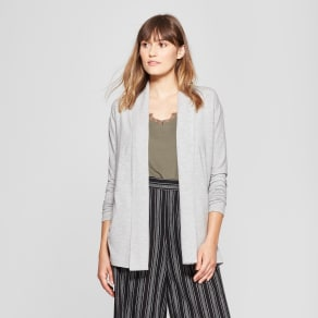 Women's Open Knit Cardigan - A New Day Gray Heather L