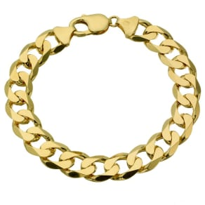 "Men's 9ct yellow gold 8.5"" curb bracelet"