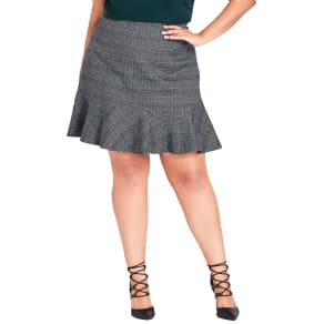 Plus Size Women's City Chic Scottish Plaid Frill Skirt, Size Medium - Grey