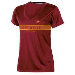 Iowa State Cyclones Women's Short Sleeve V-Neck Performance T-Shirt - M, Multicolored