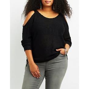 Plus Size Slub Knit Cold Shoulder Sweater