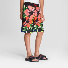 Boys' Floral Print Swim Trunks - Cat & Jack Black S