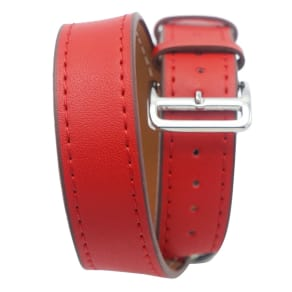 iPM Genuine Leather Double Wrap Replacement Watch Band 38mm - Red, Adult Unisex