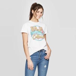 Women's Short Sleeve Baja California Graphic T-Shirt - Mighty Fine (Juniors') - White Xxl