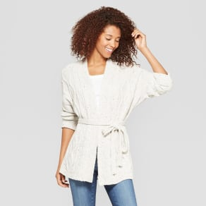 Women's Cable Wrap Sweater - Universal Thread Cream (Ivory) XS