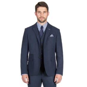 f9e2eb541066 Jeff Banks - Blue Textured Weave Blazer