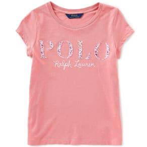 e246e8b27866 Ralph Lauren Childrenswear Big Girls 7-16 Short-Sleeve  Floral-Printed-Applique