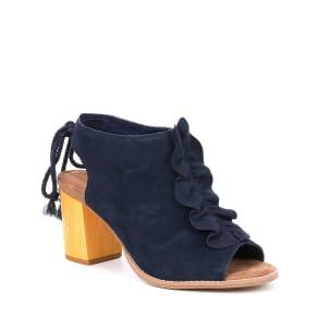 258ef1f5221d TOMS Elba Ruffle Suede Wooden Block Heel Sandals