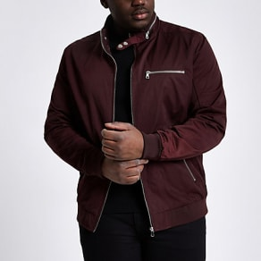 Mens Big and Tall dark Red racer neck jacket