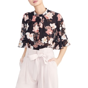 Women's Rachel Roy Collection Floral Ruffle Sleeve Blouse, Size X-Small - Black