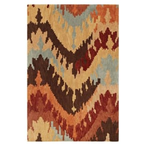 Ikat Chevron Wool/Banana Viscose Area Rug - Taupe (5'x7'6), Taupe Brown