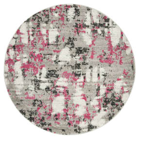 Gray/Pink Splatter Loomed Round Area Rug 6'7 - Safavieh