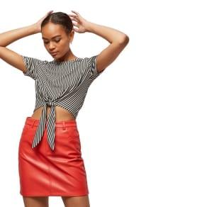 Miss Selfridge - Red Polyurethane Mini Skirt