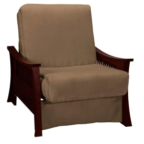 Shanghai Perfect Futon Sofa Sleeper - Mahogany Wood Finish - Mocha Brown Upholstery - Full-Size - Sit N Sleep, Pecan