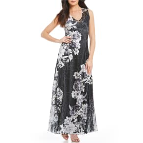 Komarov Floral Print V-Neck Maxi Dress
