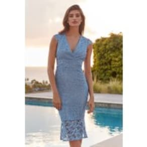 Lipsy VIP Embroidered Lace Plunge Flute Hem Midi Dress - 14 - Blue