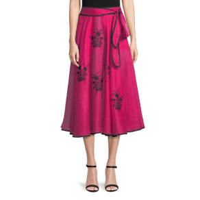 Happy Flowers Floral-Embroidered Belted A-Line Linen Skirt