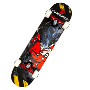 Punisher Skateboards Teddy 31.5 Red Skateboard, Red/Black