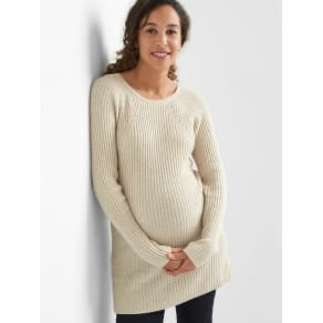 Gap Maternity Pointelle Ribbed Sweater Tunic - Oatmeal Heather