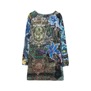 Desigual - Woman - Blue Long-Sleeved Dress - Raul - Raul - Size 46