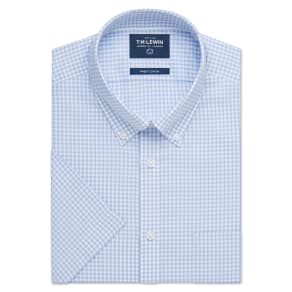 """Half Sleeve Fitted Blue Check Oxford Weave Shirt"""