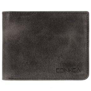 Conkca London Vintage Black 'Schubert' Cowhide 14-Card Rfid Wallet