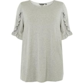 Womens Dp Curve Plus Size Grey Frill Sleeve T