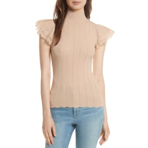 Women's Rebecca Taylor Lace Trim Pointelle Top, Size Large - Pink