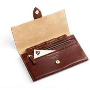 Deluxe Travel Wallet Cognac Ebl Stone Suede