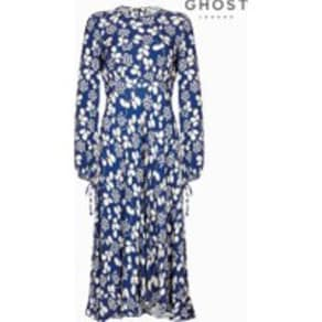 Womens Ghost London Blue Clover Leaves Crepe Dress -  Blue