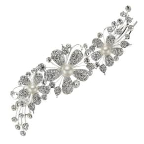 Jon Richard Pave Crystal Pearl Flower Double Side Comb