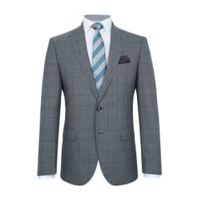 Men's Baumler Bavaria Slim-Fit Checked Wool-Rich Suit, Grey