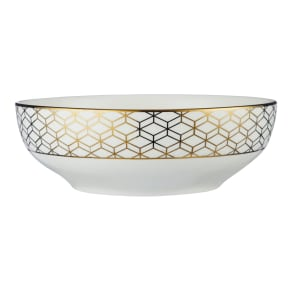 John Lewis & Partners Geometric Decorated Serving Bowl, Gold, 23cm