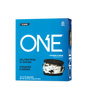 Protein Bar - Cookies and Creme - 12 Bars - One(r) - Pre & Post Workout Bars