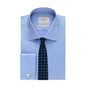 Men's Formal Blue Pique Classic Fit Shirt - Double Cuff - Easy Iron