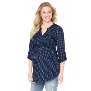 Tie Front Maternity Tunic- Navy Dot